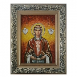 Amber Icon of the Blessed Virgin Mary Albazinskaya 80x120 cm - фото