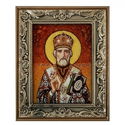 The Amber Icon Saint Nicholas the Wonderworker 40x60 cm - фото
