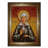 The Amber Icon of the Holy Matrona Moscow 15x20 cm