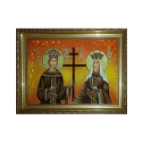 The amber icon The Holy Equal to the Apostles Constantine and Elena 30x40 cm