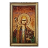 The Amber Icon of the Holy Ravnoapostolnaya Nina 15x20 cm
