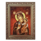 Amber Icon of the Blessed Virgin Mary Fat Mountain 15x20 cm