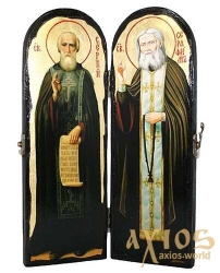 Ancient Icon of the Monk The Reverend Sergius of Radonezh and Seraphim of Sarov Warehouse double 10x30 cm - фото