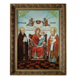 Amber Icon of the Blessed Virgin Mary Domostroitelnitsa 40x60 cm - фото