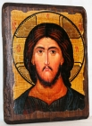 An icon under the old days Lord Almighty with gilding 17x23 cm