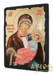 Icon under the antiquity The Blessed Virgin Mothers of my sorrow with gilding 17x23 cm arch - фото
