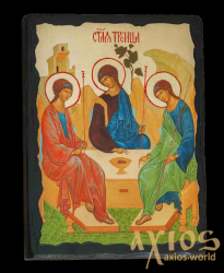 An icon under the antiquity The Holy Trinity of St. Andrey Rublev with gilding of 30x42 cm - фото