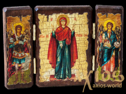 Icon under the antiquity of the Blessed Virgin The indestructible wall of a folding triple 14x10 cm - фото