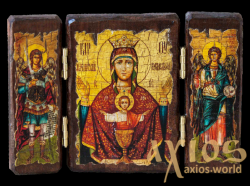 Icon under the antiquity of the Blessed Virgin Mary Inexhaustible bowl of a folded triple 14x10 cm - фото