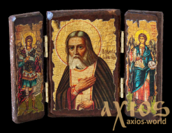 The icon under the antiquity The Monk Seraphim of Sarov is a folding treble 14x10 cm - фото