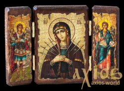 Icon under the antiquity of the Blessed Virgin Mary Seven-sided trellis treble 14x10 cm - фото