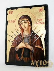 Icon under the antiquity The Blessed Virgin Mary Seven-sided with gilding 17x23 cm arch - фото