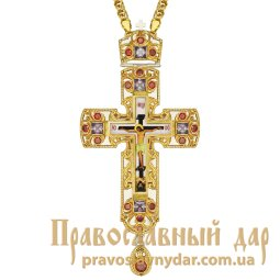 Cross brass with inserts, print and fragmented gilt with chain - фото