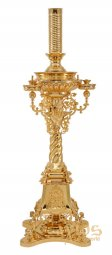 Candlestick cast, with cherubs, 1 lamp and 42 candles, with gilding - фото