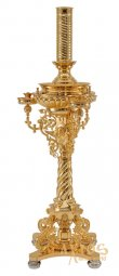 Cast candlestick № 2, with Cherubs, 1 lamp and 42 candles, with gilding - фото