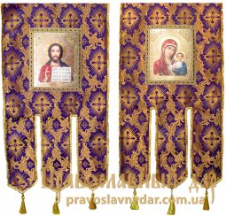Church Banners (pair), Brocade, 65x115 cm, icons on the front side (fabric print) - фото