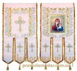 Church Banners (pair) embroidered on a white gabardine 65х115 cm, icons on the front side (fabric print) - фото