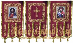 Church Banners (pair) embroidered on a burgundy gabardine 65х115 cm, icons on the front side (fabric print) - фото