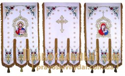 Church Banners (pair) embroidered on a white velvet 65х115 cm, icons on the front side (thermal on a the fabric) - фото