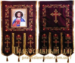 Church Banners (pair) embroidered on a gabardine 65х115 cm, icons on the front side (fabric print) - фото