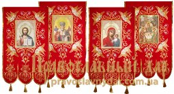 Church Banners (pair) embroidered on a red velvet 65х115 cm, Icons from four sides (fabric print) - фото