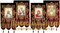 Church Banners (pair) embroidered on a burgundy velvet 65х115 cm, Icons from four sides (fabric print) - фото