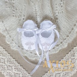 Slavic White Booties  with Silver Embroidery - фото