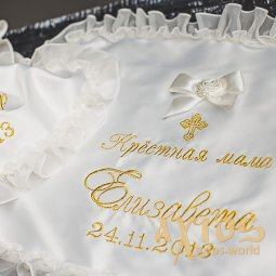 Embroidery on napkins (crp and name, crm and name), in gold (17) - фото