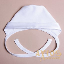 Knitted hat with silk cuff, white color (nb_010) - фото