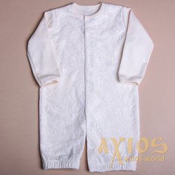 Pajamas with guipure, milky color (lil_004) - фото