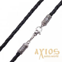 Leather cord «Save and save» with silver clasp (3mm), silver 925, leather, О 18438 - фото