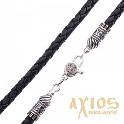Leather cord «Save and save» with a silver clasp (5mm), silver 925, leather, О 18413 - фото