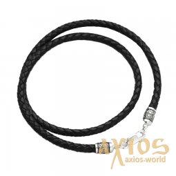Leather cord with silver fastener «Bless and save» (5 mm), О 18712 - фото