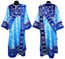 Proto-Deacon Vestment from brocade and embroidered on a blue velvet 046d - фото