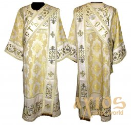 Proto-Deacon vestment of brocade and embroidered on satin 046d - фото