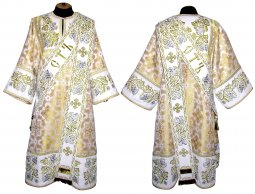 Proto-Deacon vestment of brocade and embroidered on satin 047d - фото