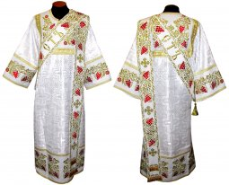 Proto-Deacon vestment of white brocade and embroidered on dense satin 047d - фото