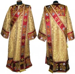 Proto-Deacon vestment of brocade and embroidered on dense satin 047d - фото