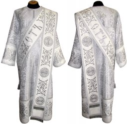 Proto-deacon vestment of white brocade and embroidered on dense satin 047 d - фото