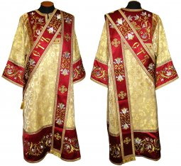 Deacon Vestment from brocade, with embroidery on velvet 046d - фото