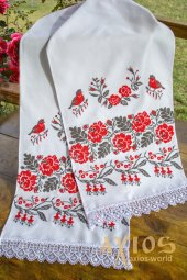 Embroidered towel under loaf linen №150047C, 200х35 cm - фото
