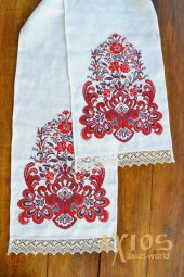 Embroidered towel under the feet №50-381, flax, 180х35 cm - фото