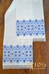 Embroidered towel under the feet №50-42, flax, 180х35 cm - фото