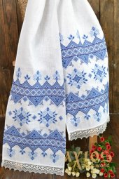 Embroidered towel under the feet № 50-48, flax, 200х35 cm - фото