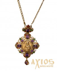 Panagia brass in gilding with casting crucifix inserts and chain 140x75 - фото