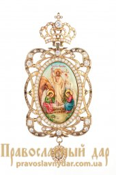 Panagia 18x9 cm, hand-painted on mother-of-pearl, with chain, in a case - фото