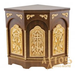 The altar is angular, wooden, 3-faced, No. 1 with a door and gilded elements, a dark tree - фото