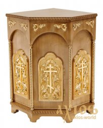 Altar corner, wooden, 3-faced, No. 1 with door and gilded elements, light wood - фото