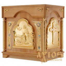 The altar is rectangular, wooden, No. 2 with a door and gilded elements, a light tree - фото