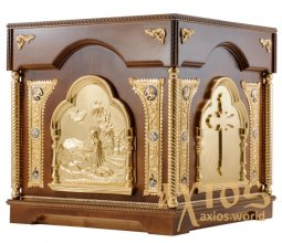 The altar is rectangular, wooden, No. 3 with a door and gilded elements, a dark tree - фото